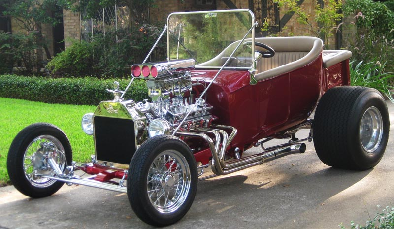 Larry Howard-Houston, Texas - 1923 T Bucket - 355 Cubic Inch Chevy - Inferno Red - Chrome by Speed & Sport Chrome Plating
