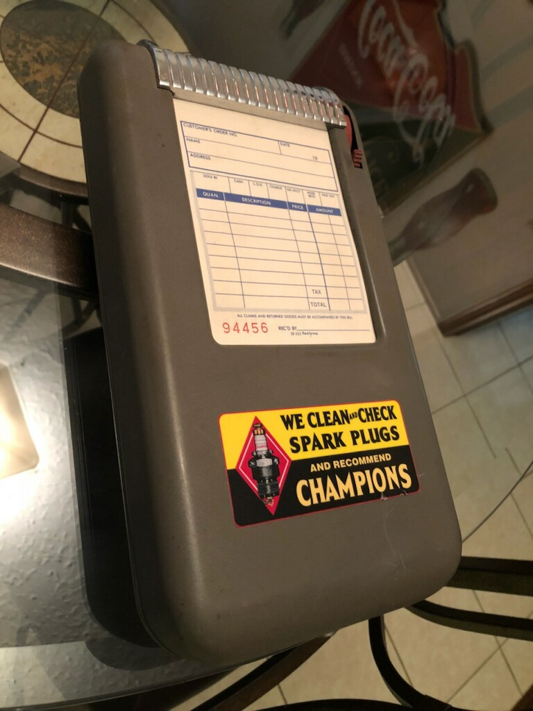 Champion Spark Plug Receipt Box from Gas Station 1950's