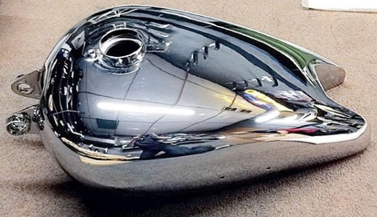 Motorcycle gas tank chrome job